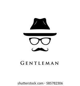 Mustache, glasses and a hat illustration. Gentleman icon.