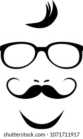 Mustache and glasses. Icon for hipster style. Vector