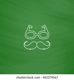 Mustache and Glasses Outline vector icon. Imitation draw with white chalk on green chalkboard. Flat Pictogram and School board background. Illustration symbol