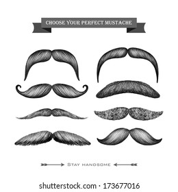 Mustache hand drawn barber shop collection isolated on the white background