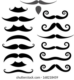 Mustache Icon. Isolated mustaches on white background