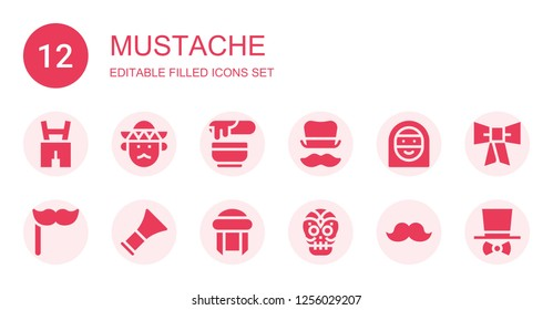 mustache icon set. Collection of 12 filled mustache icons included Lederhosen, Mariachi, Wax, Top hat, Arab woman, Mustache, Barber, Turban, Mexican skull, Bow tie, Costume