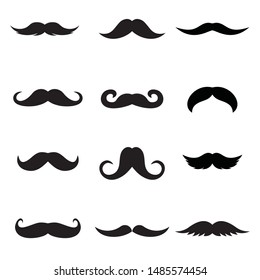 Mustache Icon Set. Vector set of hipster mustache