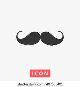 mustache Icon Vector. Simple flat symbol. Perfect Black pictogram illustration on white background.