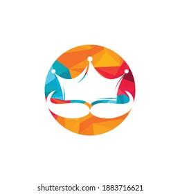 Mustache king vector logo design. Elegant stylish mustache crown logo.