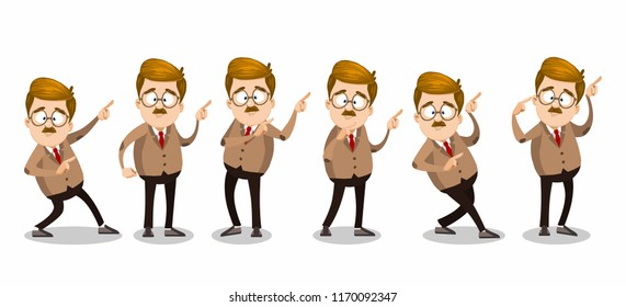 Mustache man character in glasses showing finger pointing gestures. Teacher pointing on free space isolated vector illustration. Funny professor personage in suit and tie for advertising campaign