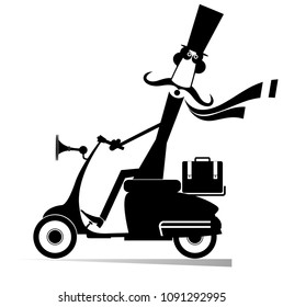 Mustache man drives a scooter isolated illustration. Cartoon mustache man in the top hat drives a scooter black on white illustration