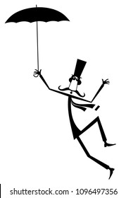 Mustache man in the top hat with umbrella isolated illustration. Mustache man in the top hat with umbrella staying on the wind black on white illustration vector