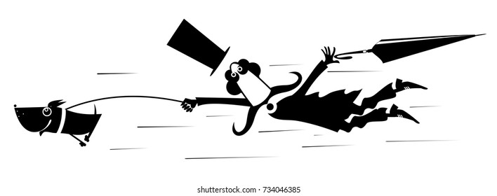 Mustache man in the top hat walking over a disobedient dog .Disobedient dog drags a man who get lost his hat and umbrella by leash isolated