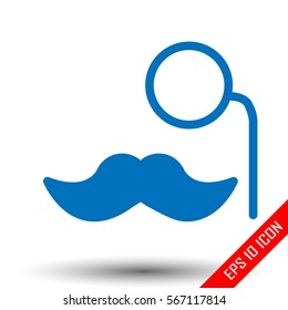 Mustache and monocle icon. Simple flat logo of mustache and monocle on white background. Vector illustration. Abstract vector hipster silhouette with monocle and mustache.