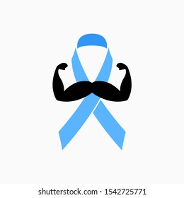 Mustache, Mustache and Ribbon. November - Strength and Support. Prostate Cancer, Testicular Cancer Men's Mental Health Awareness Month and Ribbon - Vector Icon