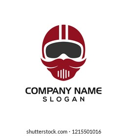 Mustache riders, mustache helmet design concept for logo icon  template driver, automotive logos, etc.