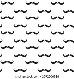 Mustache seamless pattern. Vector illustration on white background