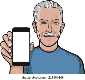 mustache senior man showing a mobile app on a smart phone