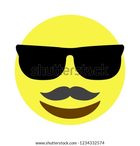 mustache smiley face with sunglasses vector isolated on white background mustache smiley face icon for