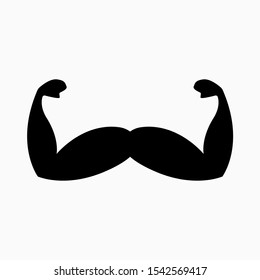 Mustache, Mustache. Strength and Support. November. Prostate Cancer, Testicular Cancer Men's Mental Health Awareness Month - Vector Icon
