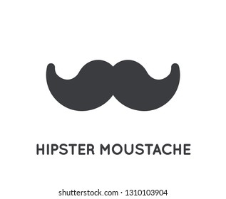 Mustache stylish icon.  Glyph vector moustache vintage shape symbol with curly whisker.