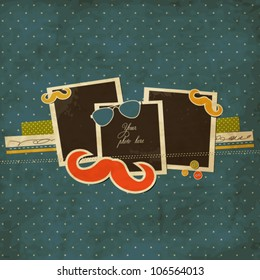 Mustache and sunglasses scrap card with photo frames