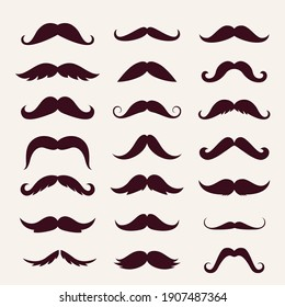 Mustache trendy styles set. Brown mustache curly horseshoe imperial pencil english pyramid italian and vintage narrow french walrus brush male hipster modern fashion. Chevron vector.