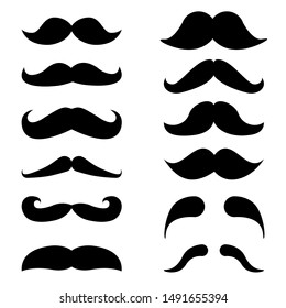 Mustache vector icon set. mustache illustration symbol collection.