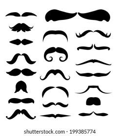 mustache vector icons set