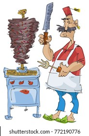 A mustached cook preparing traditional eastern food. Shawarma maker. Cartoon. Caricature.
