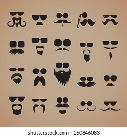 Mustaches, Beard And Sunglasses With Various Additions Isolated On Brown Background Set - Vector Illustration, Graphic Design Editable For Your Design.