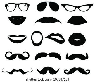 Mustaches and other accessories-vector