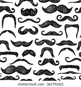 Mustaches seamless pattern. Hand drawn elements. Black and white color.