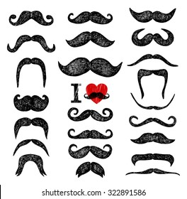 Mustaches set. Design elements. Hand drawn set.