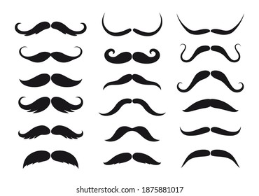 Mustaches style isolated vector black silhouettes. Barbershop or barber fashion retro and modern long and short classic and hipster or lumberjack man mustache types, monochrome vintage whisker set