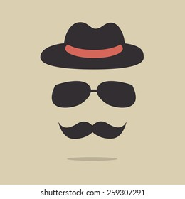 Mustache,sun glasses and hat on beige background, hipster concept.