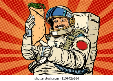 Mustachioed astronaut with Shawarma kebab Doner. Pop art retro vector illustration kitsch vintage drawing