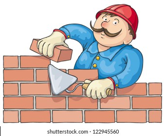 Mustachioed bricklayer builds a red brick wall. Vector cartoon