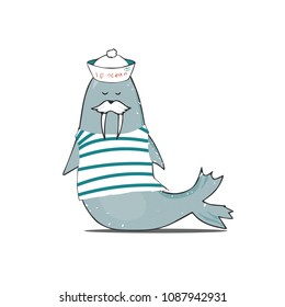 mustachioed walrus in vest and cap vector walrus illustration character color texture shabby style blue sea ocean life face animal zoo smile mustache funny drawing geometric print on white background