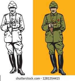Mustafa Kemal Ataturk illustration, Founder of Turkish Republic, Leader