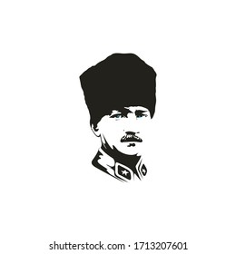 Mustafa Kemal Ataturk portrait drawing, vector