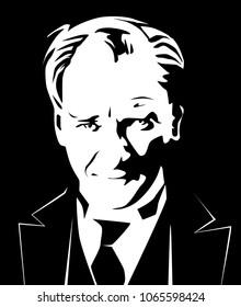 Mustafa Kemal Ataturk portrait, vector