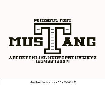 Mustang font. Vector alphabet letters. Typeface design.