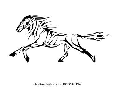 mustang horse stallion abstract ethnic tattoo symbol sticker