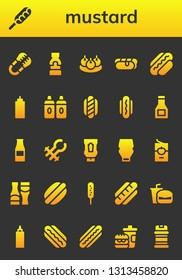 mustard icon set. 26 filled mustard icons.  Simple modern icons about  - Tongs, Hot dog, Mustard, Bitterballen, Sauce, Sauces, Ketchup bottle, Ketchup, Mayonnaise, Tomato sauce