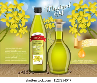 Mustard oil ads. Vector realistic illustration of mustard oil glass bottle glass pitcher packaging mockups, mustard plant and seeds, copy space. Mustard oil poster, banner design template.