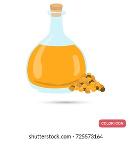 Mustard oil bottle color flat icon