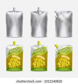 Mustard package mockup design, vector realistic illustration. White blank and color doypack template set. Doy-pack plastic bags isolated on white background.