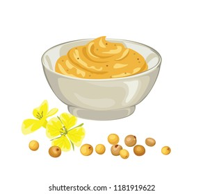 Mustard sauce, flowers and seeds. Ceramic dip bowl, filled  mustard. Vector illustration isolated on white.