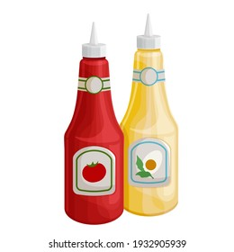 Mustard and tonato ketchup vector icon. Dispensers for mustard and ketchup, fast food topping squeeze bottles.