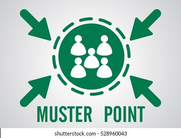 muster point or emergency assembly point banner logo