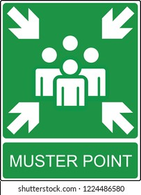 Muster point  - exit and evacuation signs - assembly point