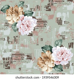 mustered and pink vector flowers bunches pattern on negative texture green background