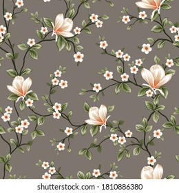 mustered vector small flowers with green leaves pattern on grey background